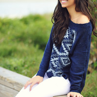 On The Horizon Sweater: Navy Blue | Hope's