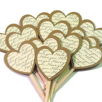 rustic wedding heart cupcake toppers, I love you hearts, bridal shower decorations, cake decor, food picks, 12 pieces