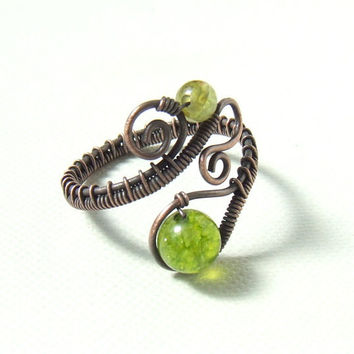 Olivine peridot copper ring, green copper ring, peridot stone rustic wire wrapped adjustable jewelry