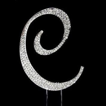 Silver Letter Initial C Birthday Crystal Rhinestone Cake Topper C Party Monogram