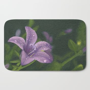 Purple lily flower Bath Mat by Savousepate
