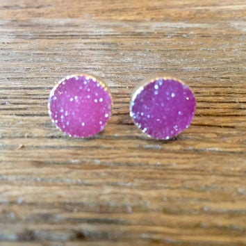 Luxe by Virtue Druzy Earrings- Hot Pink