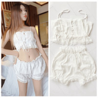 Cute Two Piece Laced White Top and Bottom Set SD00426