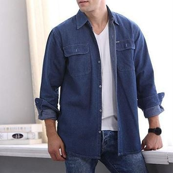 Men Denim Long Sleeve Shirt