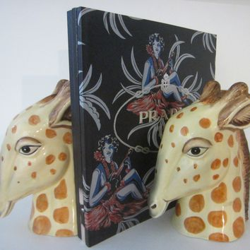 Giraffes Heads Bookends Mid Century Modern Ceramic