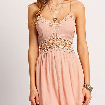 Pink V-Neck Cross Back Lace Trim Skater Dress
