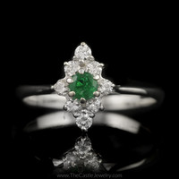 Diamond Shaped Emerald and 1/4cttw Diamond Cluster Ring in 14K White Gold
