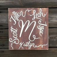 Family Name Sign, Personalized Sign, Hand Painted Signs, Wooden Names Sign, Distressed Wood Sign, Custom Hand Painted Sign