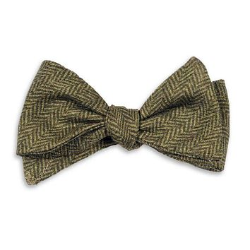 Olive Herringbone Bow Tie by High Cotton