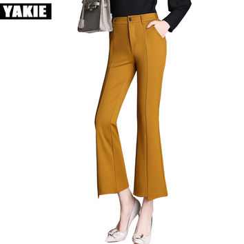 High waist Wide Leg flare Pants Women long Trouser Office OL Formal Loose casual Pants capri Female trousers Plus size XXL