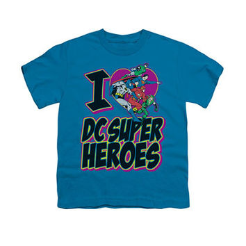 I Heart DC Superheroes Blue Youth Unisex T-Shirt