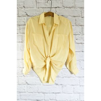 Vintage Butter Yellow Silk Top