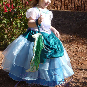 Ariel Little Mermaid Tail Ball Gown Disney Princess Dress Size 6 costume