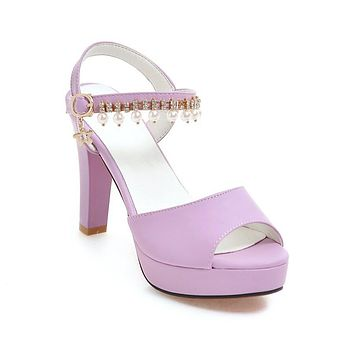 Rhinestone Pearls High Heels Platform Sandals Summer Shoes 6294