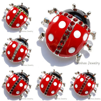 Cute red ladybeetle crystal insect Brooch pins silver plated rhinestone Brooches decoration jewelry women Clothes accessories