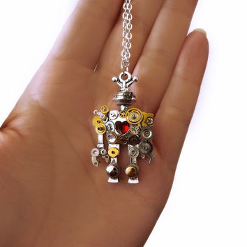 Steampunk necklace, steampunk robot, robot necklace, steampunk jewelry, watch gear necklace, steampunk fashion, techie necklace, OOAK