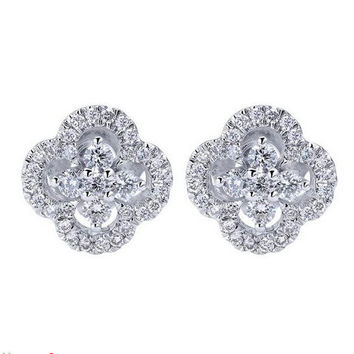 "Gabriel Diamond Pave ""Clover"" Earrings"