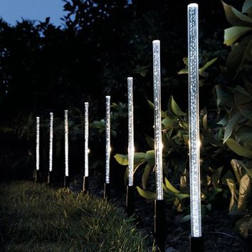 Solar Power Tube Lights Lamps Acrylic Bubble Pathway  Lawn Landscape Decoration Garden Stick Stake Light Lamp Set