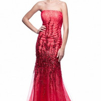 Kari Chang KC7 Red Lace 2015 Prom Dress with Train