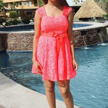 It's Now Or Never Coral Lace Skater Dress
