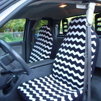 1 Set of Black and White Chevron Print Custom Made Seat Covers