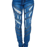 Women's Diagonal Zipper Denim Jogger RJJ808 - C6E