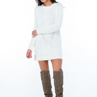 Cozy Chic Cable Knit Sweater Dress