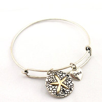 Women's Silver Sand Dollar Bangle