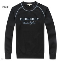 Burberry autumn and winter men's round neck pullover men's cotton sports and leisure sweater Black