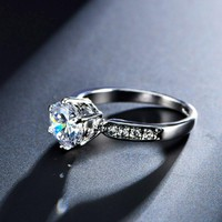 Zircon Engagement Rings For Women Rose Gold Color Wedding Rings