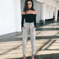High Waist Knot Long Pants