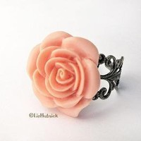 Tea Rose Ring  FREE shipping by lizhutnick on Etsy