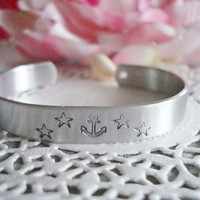 Beach Hand Stamped Cuff Bracelet Made To Order With Anchor Starfish And A Real Shell Charm