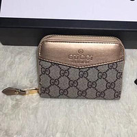 GUCCI Women Fashion Leather Zipper Purse Wallet