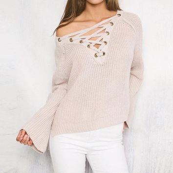 Women Solid Color Loose V-Neck Bandage Long Sleeve Knit Sweater Irregular Tops