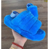 UGG Hight Quality Women Fashion Fluff Yeah Slides Fur Flats Sandals Slipper Shoes