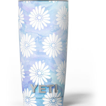 Blue and White Watercolor Flower Print Pattern Yeti Rambler Skin Kit
