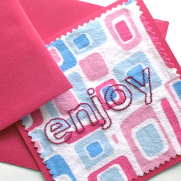 hand embroidered card - enjoy (mod squares) - fabric card, word greeting card, celebration card, teacher card, all occasion card