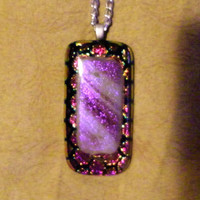 Fused Glass Necklace, dichroic, purple, rectangle, rectangular, patterned, striped, smooth, silver, clear glass dome black back shiny unique
