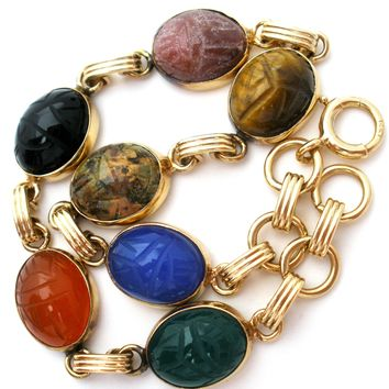 14K Gold Carved Scarab Gemstone Bracelet Vintage