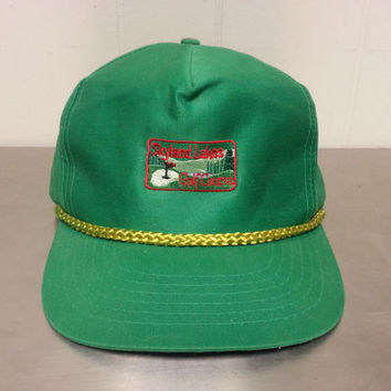 Vintage 90's Skyland Lakes Golf Course Snapback Dad Hat Golf Club Green Cap Made by Players