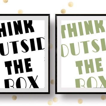 Think Outside the Box Print, Typography Print, Wall Print, Modern Home Print, Wall Printable, Typography Printable, Motivational Quote