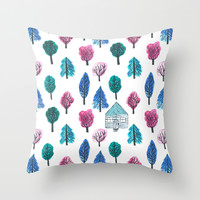 The Woods - Blue Pink & Green Throw Pillow by TigaTiga Artworks   Society6
