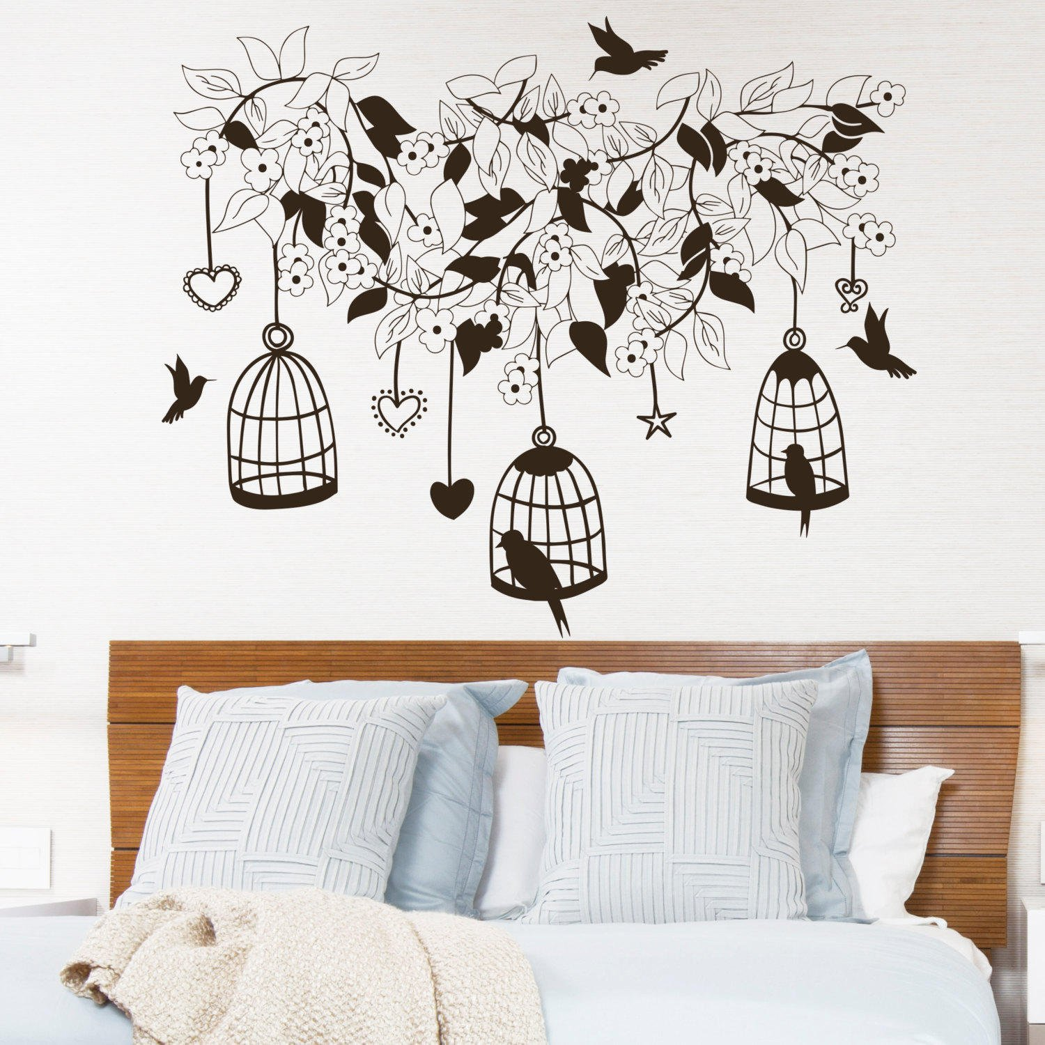 Wall decal flowers tree birds in cage from decalsfromdavid on for Decor mural metal