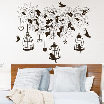 Wall Decal Flowers Tree Birds in Cage Design Wall Decals Bedroom Living Room Hotel Hostel Vinyl Stickers Home Decor Murals 3866