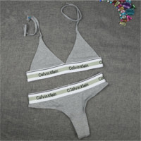 """ Calvin Klein "" Print Black Women Sexy Shorts Women Bra Tank Top Underwear Panties Set (2 Pcs) Grey"