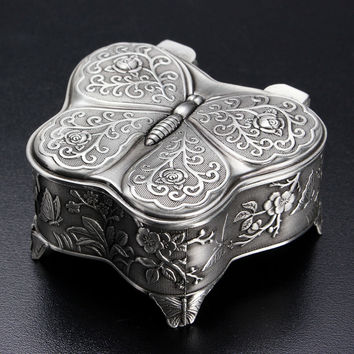 Vintage Butterfly Shaped Flower Carved Jewelry Box