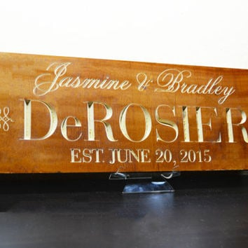 Wedding Gift Last Name Establish / Personalized Family Sign Wood / Custom Anniversary Gift Plaque