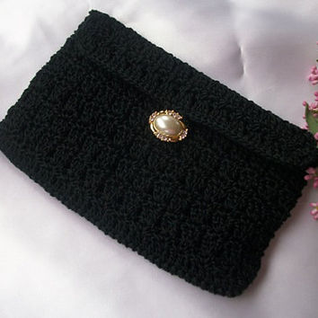 Black evening clutch purse crocheted, lined, and closes with gorgeous button and loop