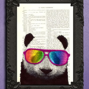 PANDA Art Rainbow Glasses, Home Office Decor, GEEKERY Art, HIPSTER Decor Wall Art, Panda Print, Wall Decor, Panda poster